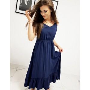 Tmavě modré dámské šaty s výstřihem do V v trendy maxi délce