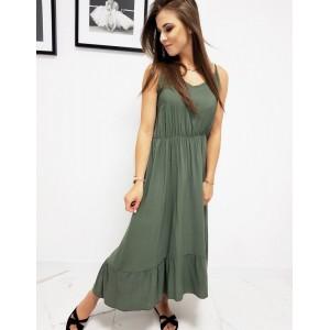 Moderní dámské dlouhé letní šaty s volánem v army zelené barvě