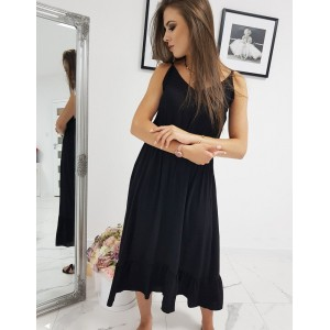 Stylové dlouhé maxi šaty černé na ramínka s gumou zvýrazňující siluetu