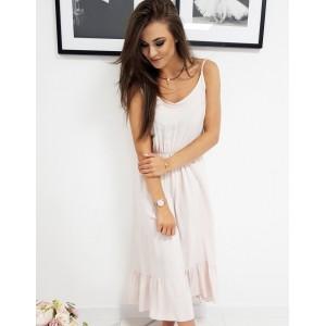 Letní dámské světle růžové šaty na ramínka a dolním volánem