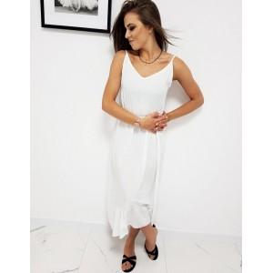 Romantické bílé dámské maxi šaty na léto s volánem