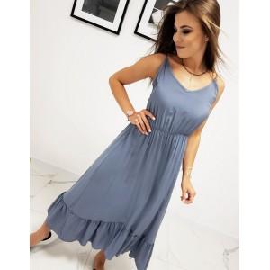 Dlouhé dámské modré maxi šaty s volánem a výstřihem do V