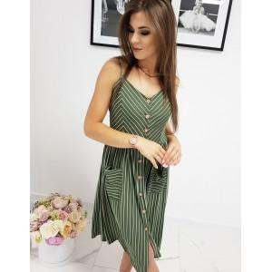Trendy zelené proužkované letní midi šaty na ramínka a s knoflíky