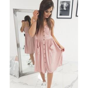 Dámské růžové proužkované šaty na ramínka a dvěma trendy kapsami