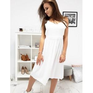 Krásné bílé šaty na ramínka s nařasenou sukní a odhalenými zády