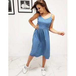 Stylové dámské modré šaty na léto s designovým vázáním na zádech