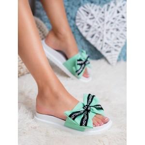Pohodlné dámské gumové nazouváky na pláž zelené s mašlí