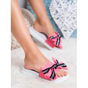 Stylové dámské pantofle na gumové platformě a s růžovou mašlí LOVE