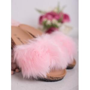 Korkové dámské pantofle s módní kožešinou v růžové barvě