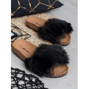 Černé dámské kožešinové dřeváky