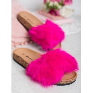 Kožešinové neonově růžové dámské pantofle na korkové podrážce
