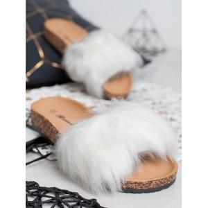 Dámské dřeváky pantofle s bílou kožešinou