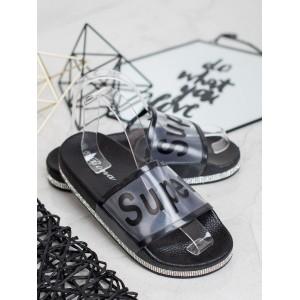 Trendy dámské černé gumové nazouváky na platformě se zirkony