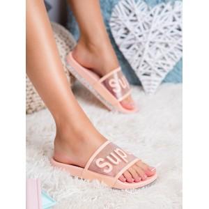 Originální dámské gumové růžové pantofle na platformě se zirkony