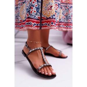 Třpytivé dámské gumové sandály v černé barvě s krystalky