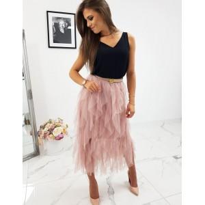 Růžová nařasená dámská sukně