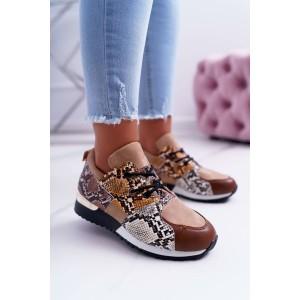 Moderní dámské béžové boty na platformě