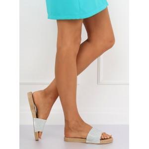 Trendové dámské pantofle stříbrné barvy