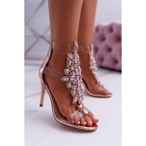 Růžové kamínkové sandály na jehlovém podpatku