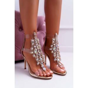 Luxusní zlaté sandály zdobené kamínky