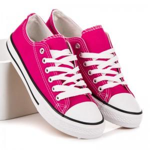 Růžové dámské letní tenisky s bílými tkaničkami