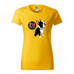 Stylové dámské tričko s potiskem pro milovnice plemene bostonský teriér