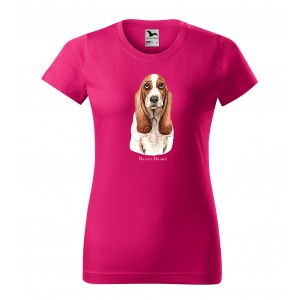 Trendy dámské bavlněné tričko s potiskem mysliveckého psa basset