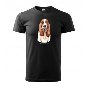 Originální pánské bavlněné tričko s potiskem mysliveckého psa basset