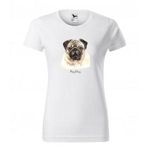 Dámské triko s potiskem pro milovnice plemene psů mopslík