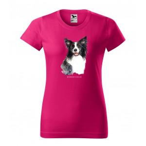 Dámské bavlněné tričko s módní potiskem psa borderska kolie