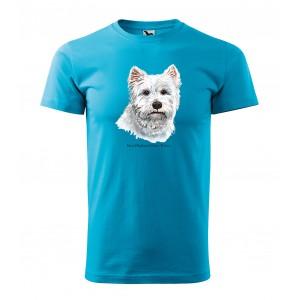 Kvalitní bavlněné tričko pánské s potiskem westhajlendský teriér