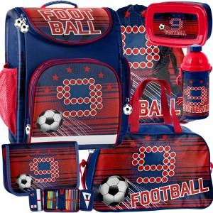 Červená ergonomická školní taška pro chlapce v mega šestidílné sadě