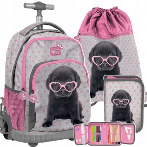 Školní taška pro dívky s motivem pejska v mega tříčlenné kombinaci