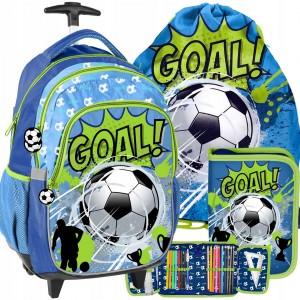 Mega tříčlenný set školní tašky pro chlapce fotbalisty