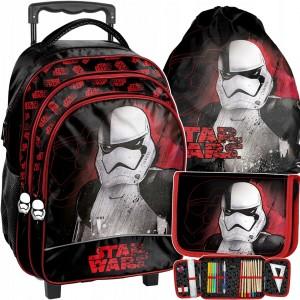 Tříčlenná sada školní tašky na kolečkách s motivem Star Wars