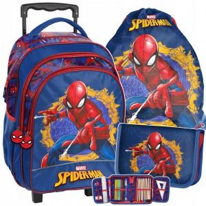 Originální školní taška na kolečkách spiderman v mega tříčlenné sadě