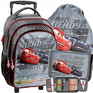 Školní taška Cars v trojkombinaci na kolečkách s rukojetí pro kluky