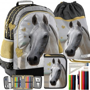 Módní školní batoh pro dívky v kombinaci s vakem a penálem
