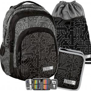 Chlapecký černo šedý batoh do školy v mega tříčlenné sadě