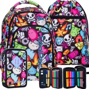 Školní batoh pro dívky s motivem postaviček v mega tříčlenné sadě