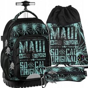 Kvalitní školní batoh na kolečkách v sadě s penálem a vakem