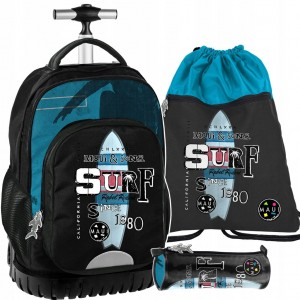 Originální školní batoh na kolečkách v trojkombinaci s motivem surfu
