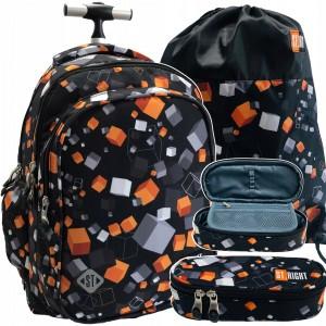 Školní batoh na kolečkách s penálem a vakem s trendy potiskem
