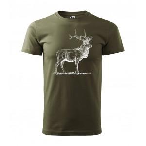 Myslivecké pánské tričko s jelenem