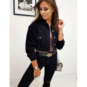 Krátká dámská riflová bunda v černé barvě