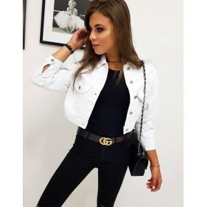 Stylová bílá dámská riflová bunda