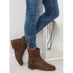 Hnědé dámské kotníkové boty