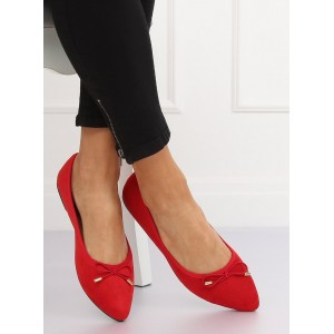 Semišové balerínky červené barvy s mašličkou