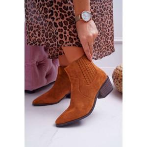 Podzimní dámské kotníkové boty hnědé barvy