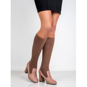 Ponožkové dámské kozačky v hnědé barvě